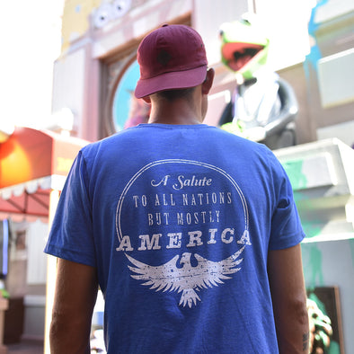 Mostly America Crew Neck Tee, Heather Royal