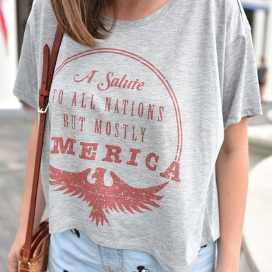 Mostly America Crop Tee, Athletic Heather