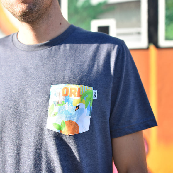 ORL Crew Tee, Heather Navy