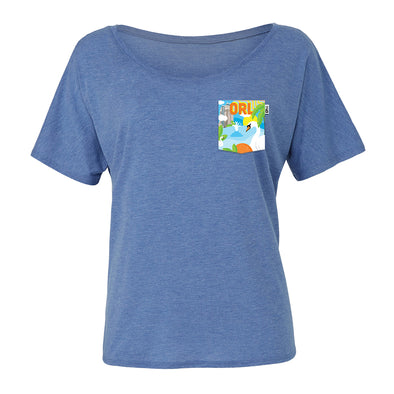 ORL Slouchy Scoop Tee, Heather Blue