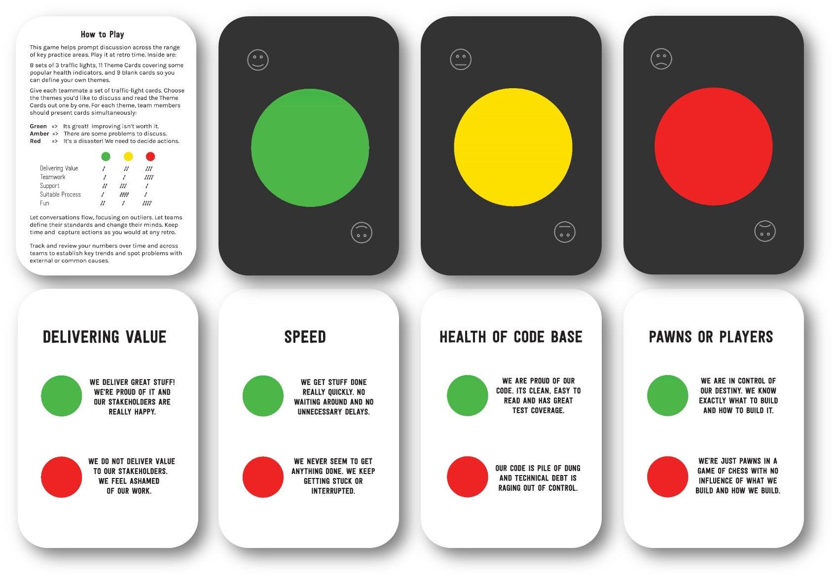Squad Health Check Card Deck by Henrik Kniberg – Agile Stationery