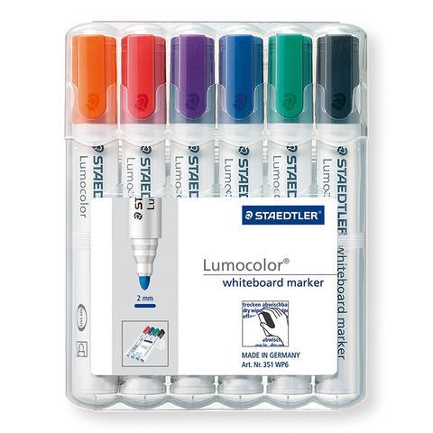 Staedtler 351 Lumocolour Whiteboard Marker with bullet tip - box of 6