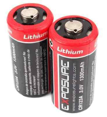 EXPOSURE LIGHTS CR123A Disposable Lithium Batteries 3.0v 1400mAh (pair)