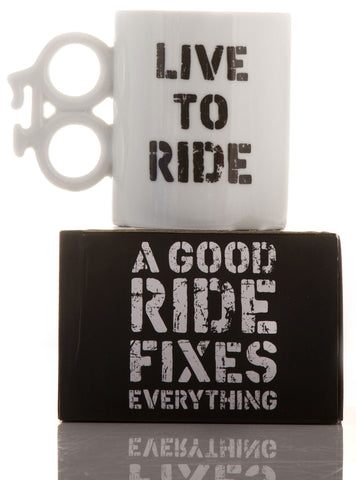 Live to Ride Boxed Gift Mug: Cyclists, MTB, Mountain Biking, Biker, Motorcyclist