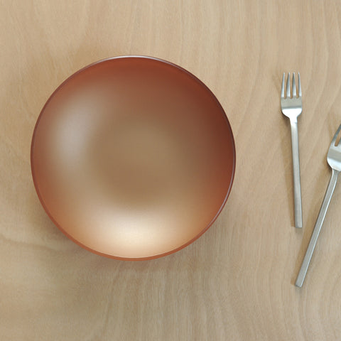 "Copper 10"" SeaGlass bowl on table with forks"