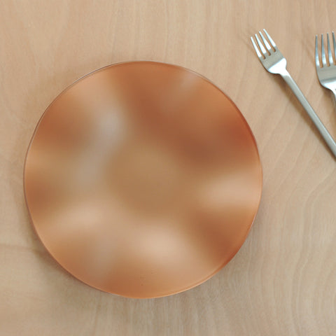 "Copper 10"" SeaGlass Wave bowl on table with forks"
