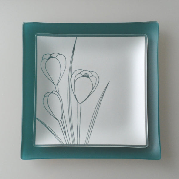 "9 inch Square Crocus Plates With Purpose™ for FORCE on Teal 11"" Square SeaGlass"