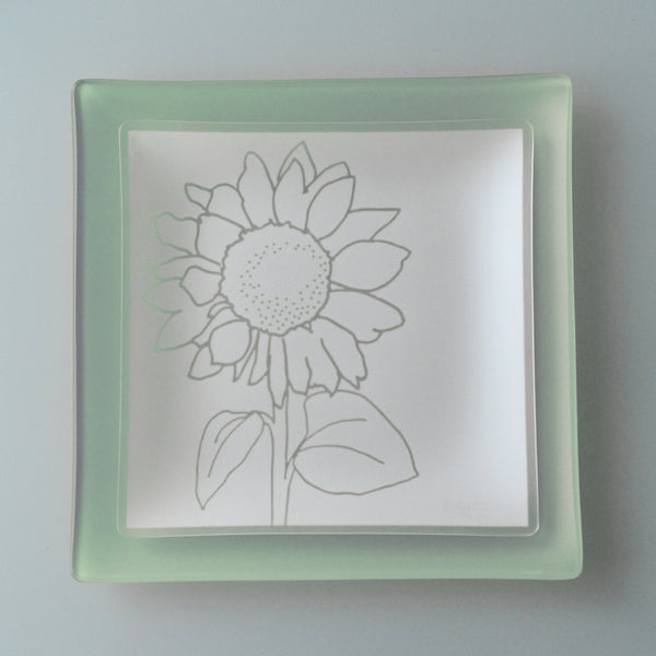 "9 inch Sunflower Plates With Purpose™ on Celadon 11"" Square SeaGlass"