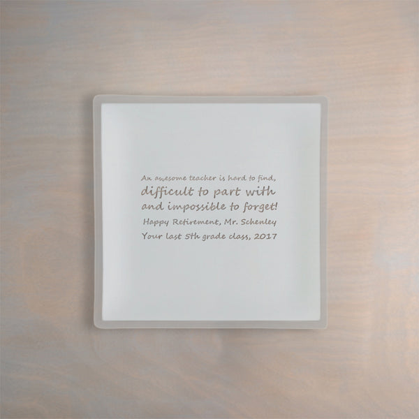 "Engraved 9"" Square Architect Pearl Plate"