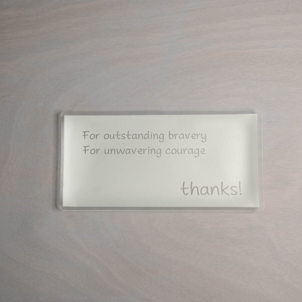 "Engraved 5"" x 10"" thanks! Pearl Plate"