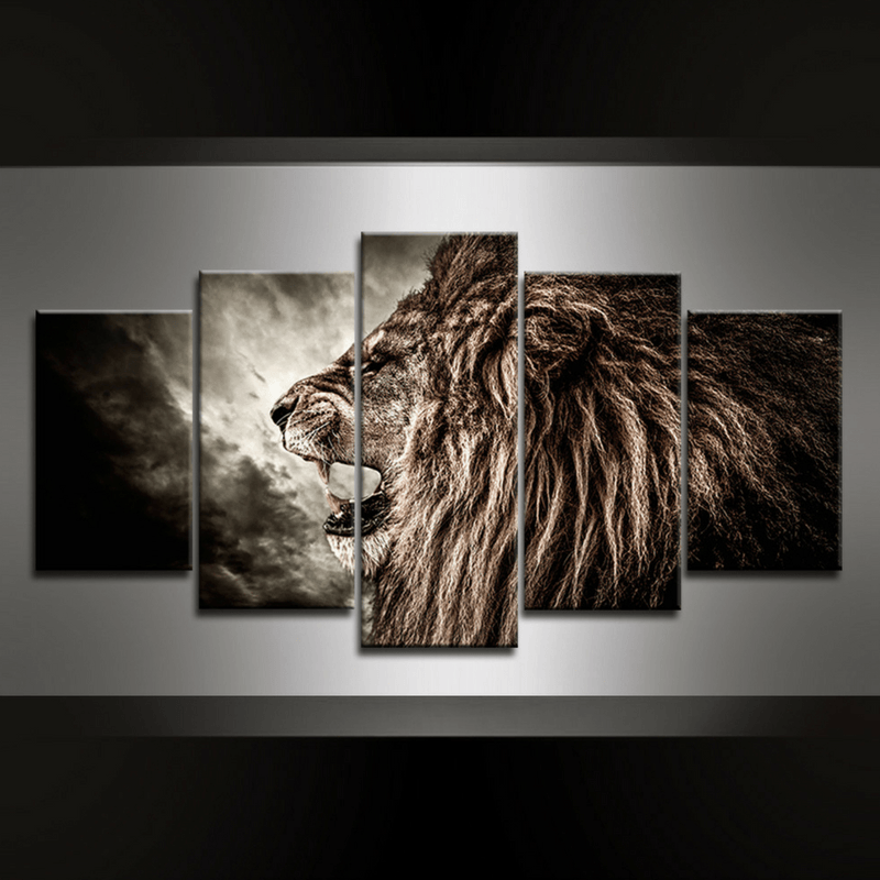 5 Piece Lionking Canvas Wall Art
