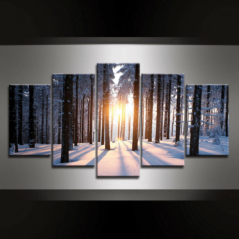 5 Piece Winter Canvas Wall Art