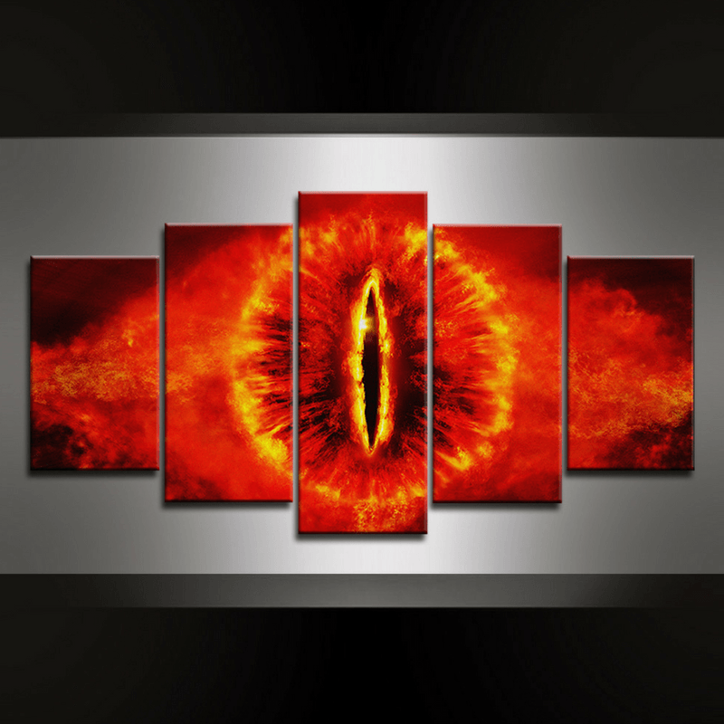 5 Piece Eye of Sauron Canvas Wall Art