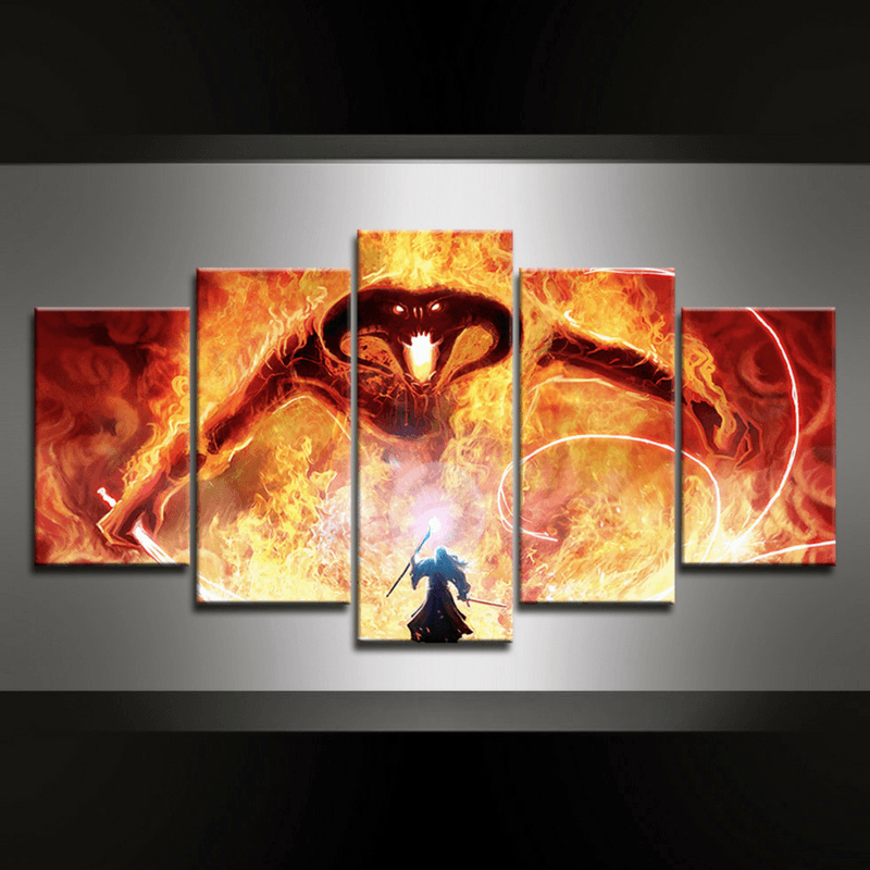 5 Piece Balrog vs Gandalf Canvas Wall Art