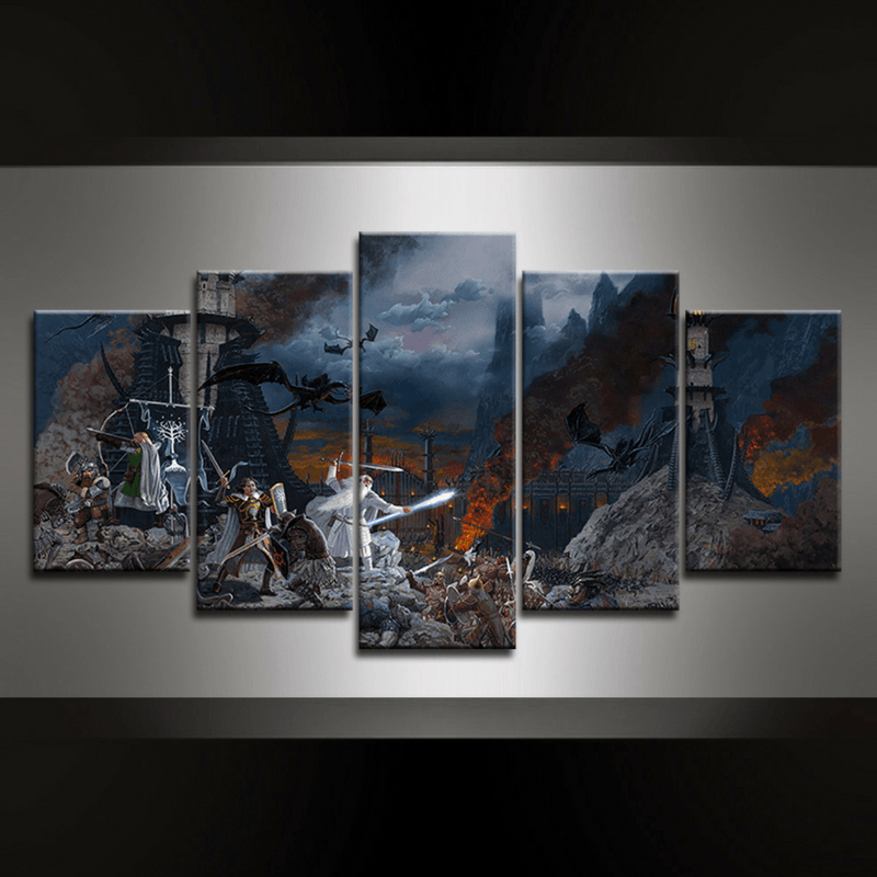 5 Piece Battle of the Black Gate Canvas Wall Art
