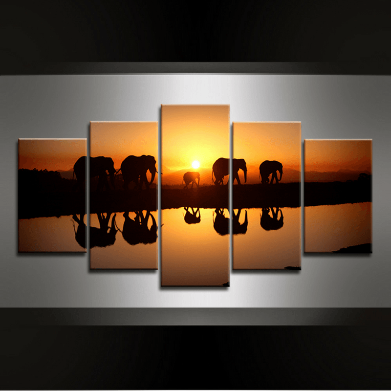 5 Piece Elephants Canvas Wall Art
