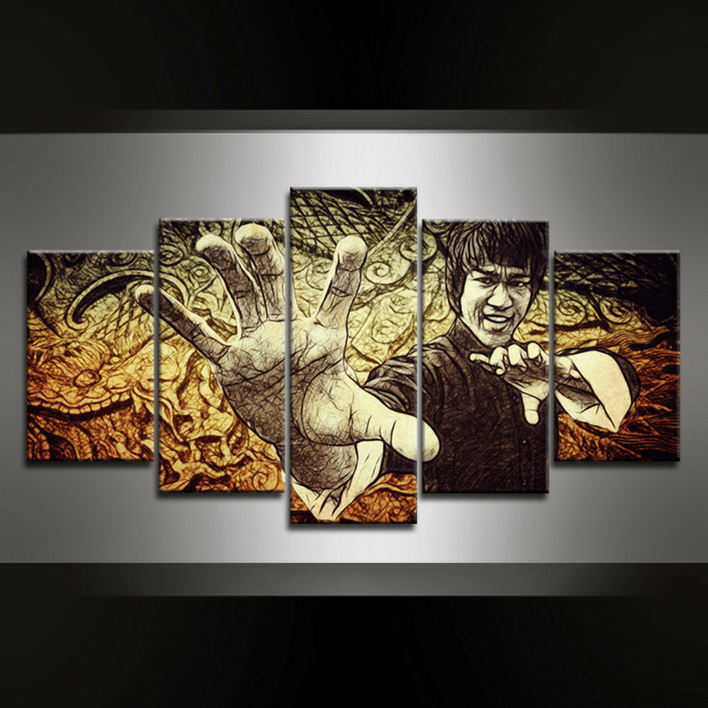 5 Piece Bruce the Dragon Canvas Wall Art