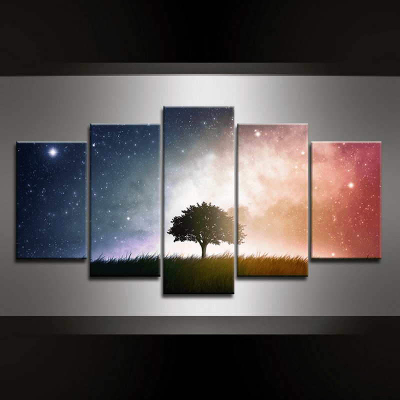 5 Piece Naming Tree Canvas Wall Art