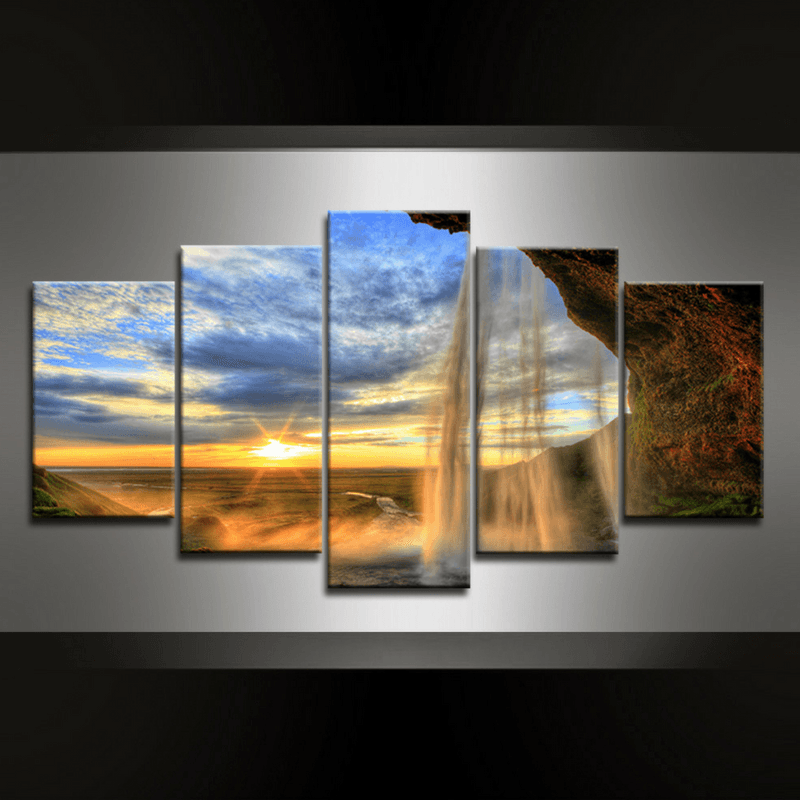 5 Piece Waterfall Gullfoss Canvas Wall Art