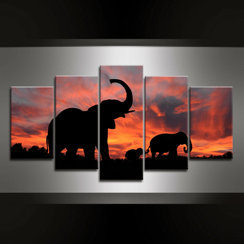 5 Piece Elephant Luangwa Canvas Wall Art