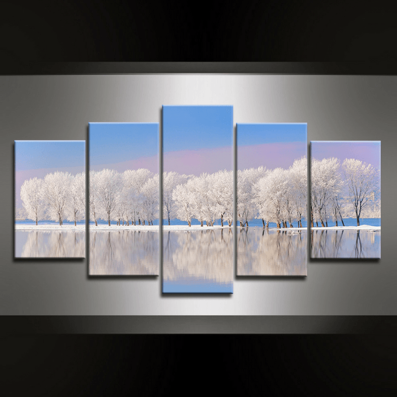 5 Piece Wintertree Canvas Wall Art