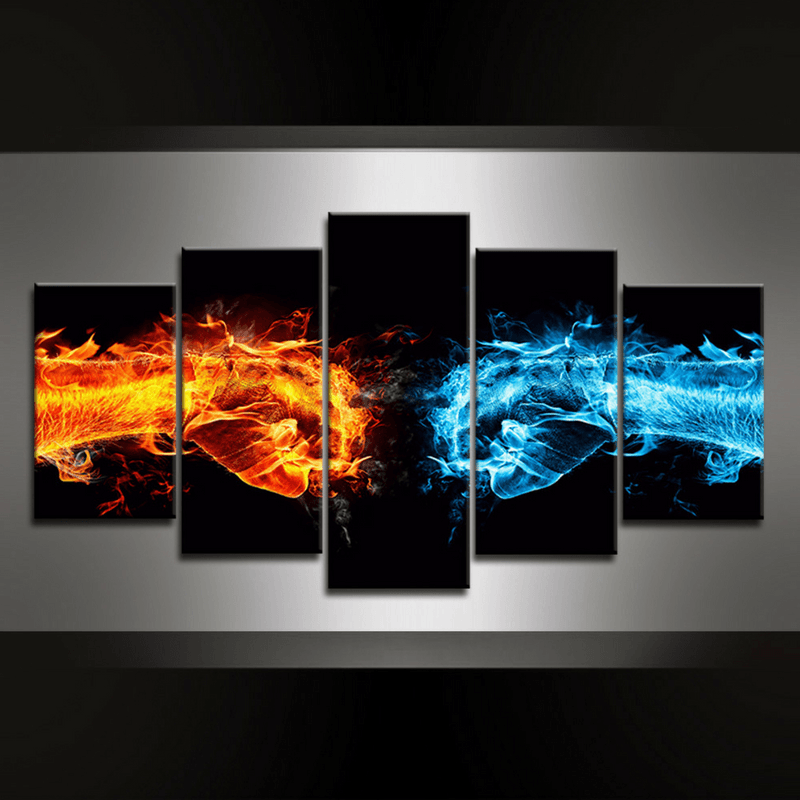 5 Piece Fists Canvas Wall Art