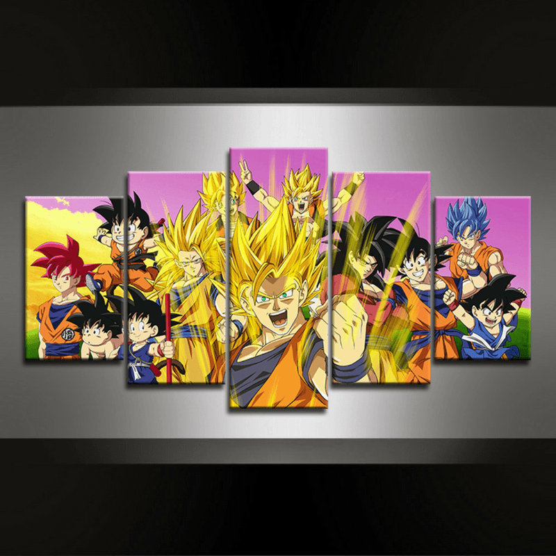 5 Piece Dragonball Goku Canvas Wall Art