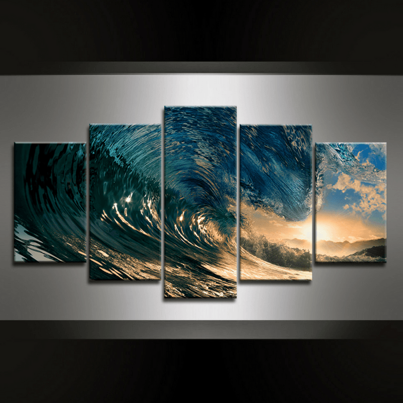 5 Piece Wave Canvas Wall Art