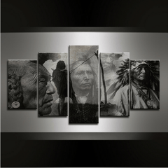 5 Piece Native American Canvas Wall Art Series