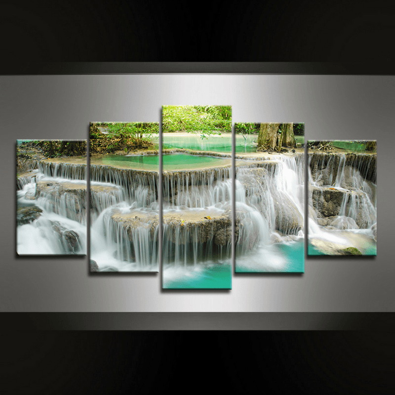 5 Piece Waterfall Phu Canvas Wall Art