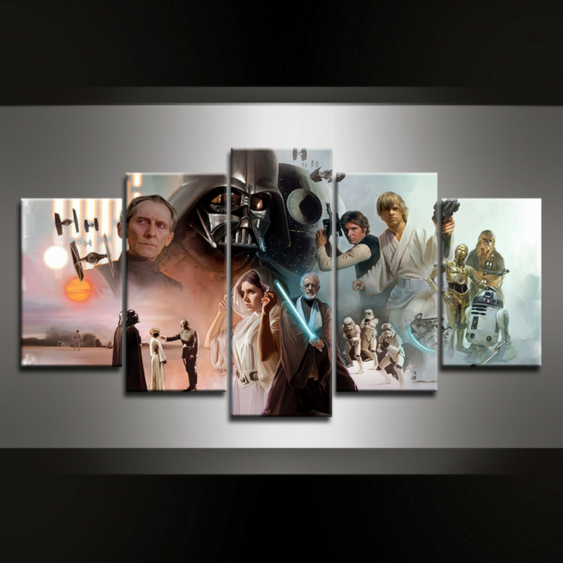 5 Piece Star Wars Canvas Wall Art