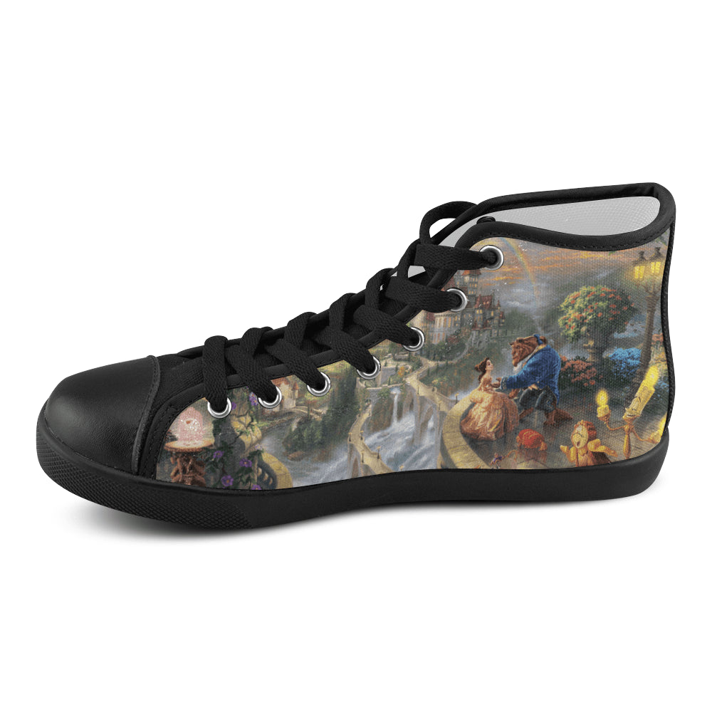 Beauty & Beast I Women's High Top Canvas Shoes