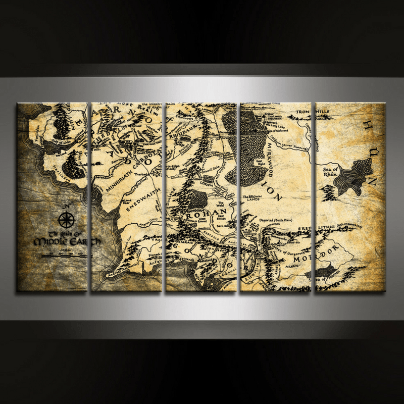 5 Piece Map of Middle Earth Canvas Wall Art