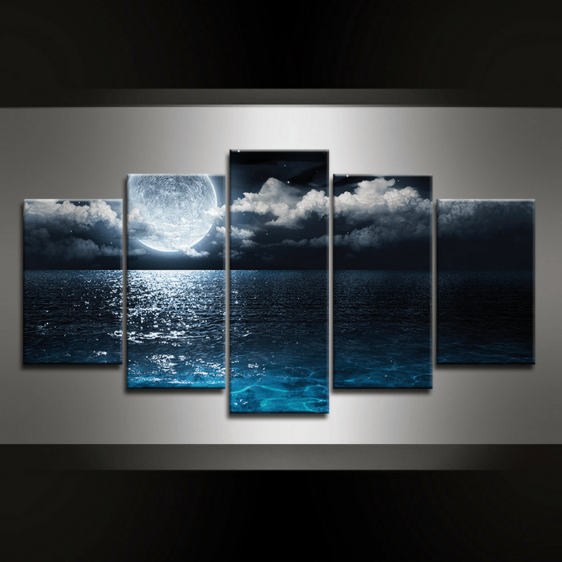 5 Piece Moon Beach Canvas Wall Art