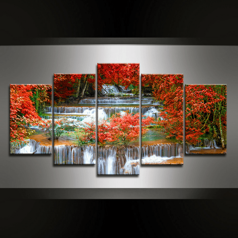 5 Piece Waterfall Kanchanaburi Canvas Wall Art