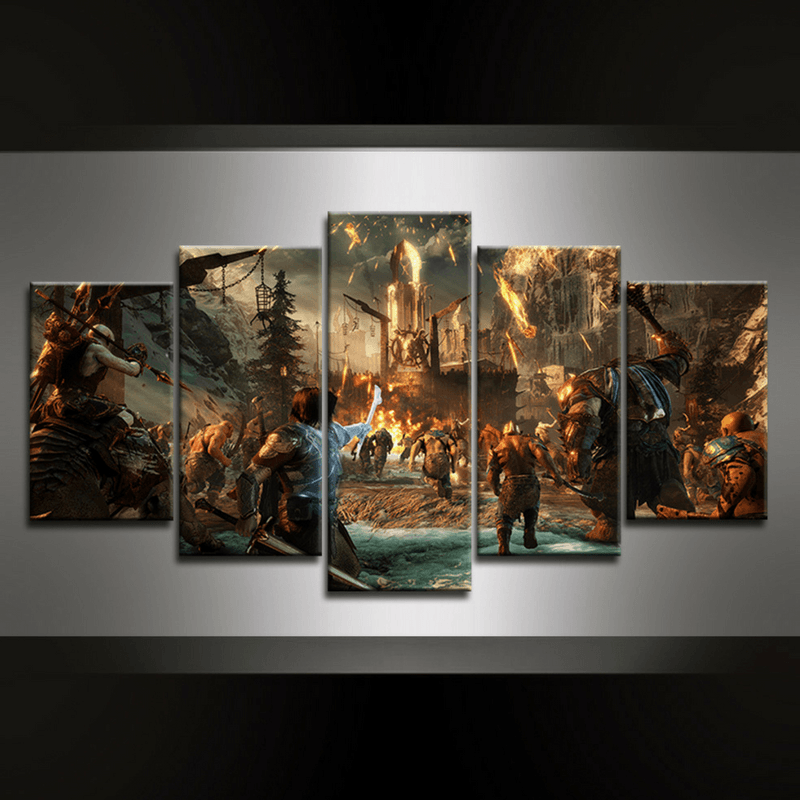 5 Piece Middle Earth Shadow of War Canvas Wall Art
