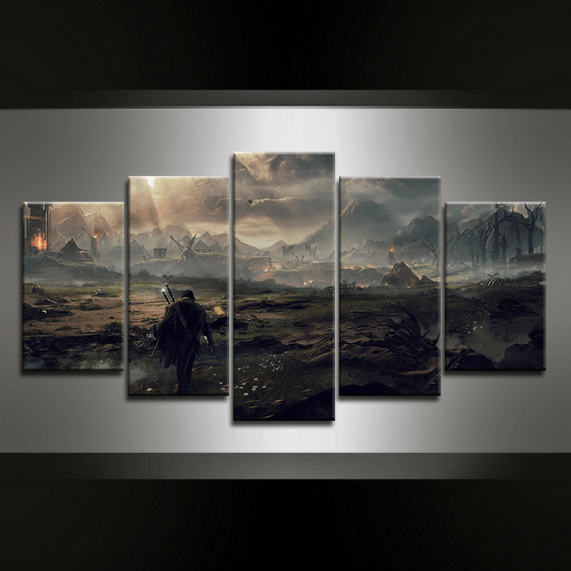 5 Piece Middle Earth Shadow of Mordor Canvas Wall Art
