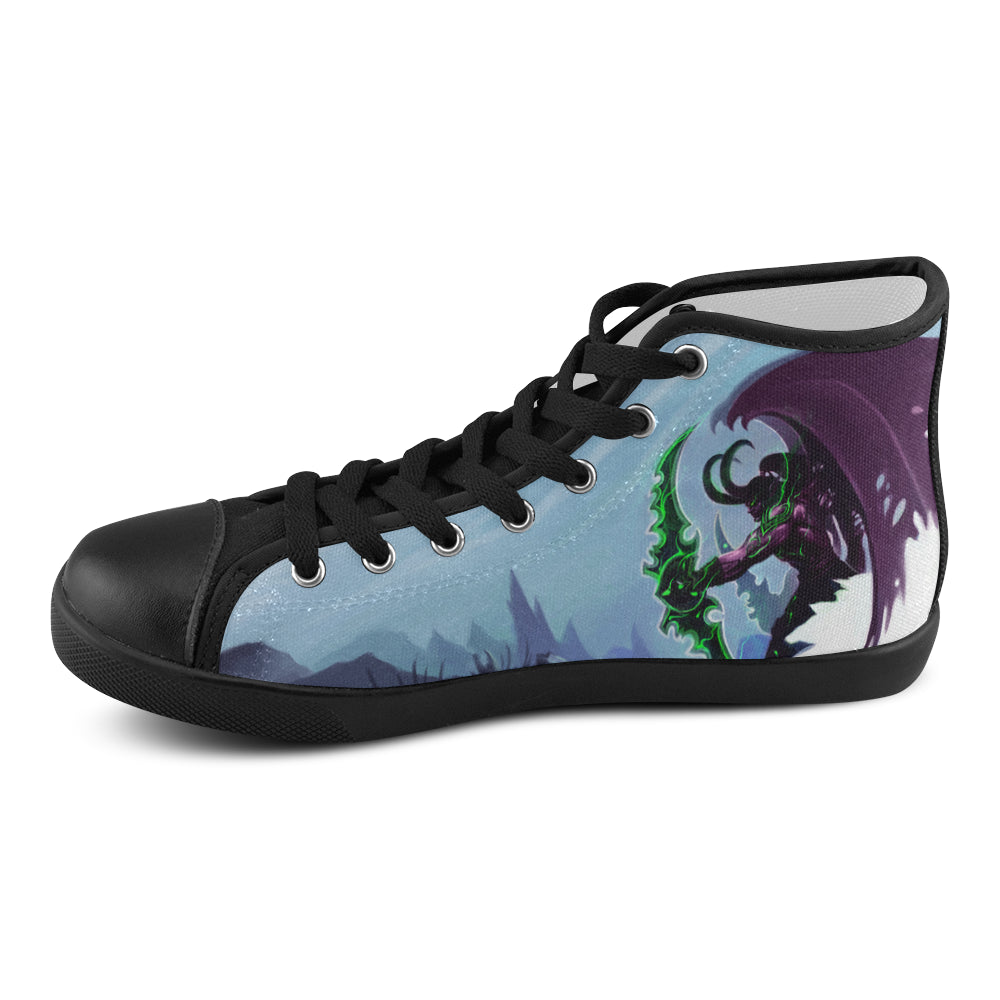 Illidan Black Men's High Top Canvas Shoes