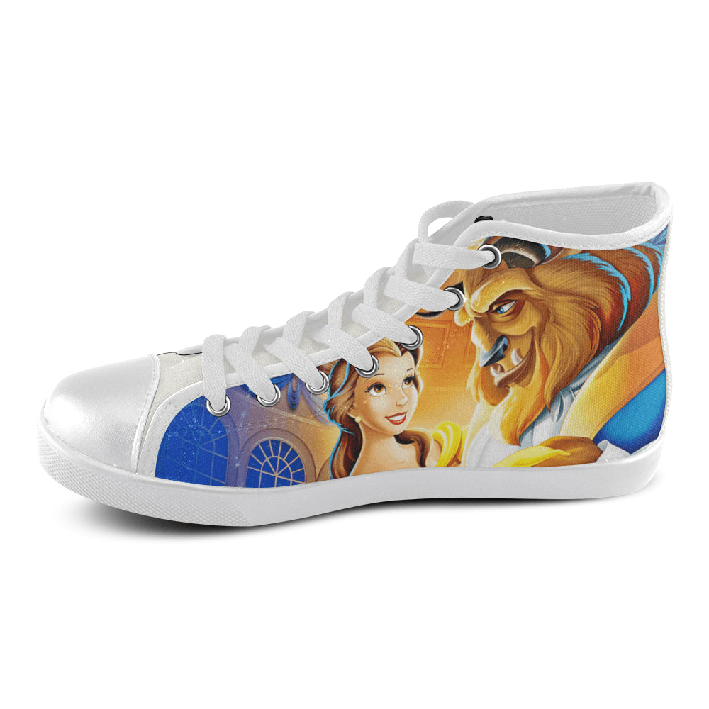 Beauty & Beast II Women's High Top Canvas Shoes