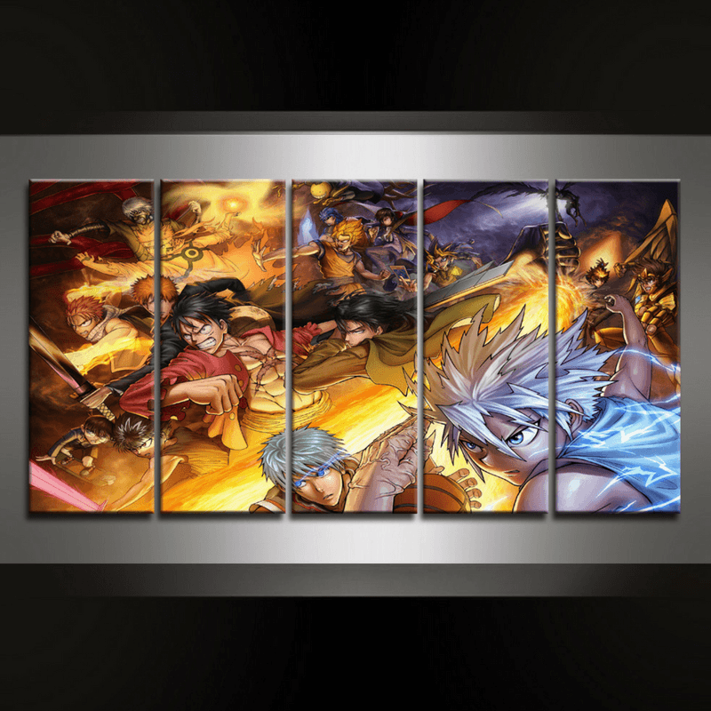 5 Piece Animash Canvas Wall Art