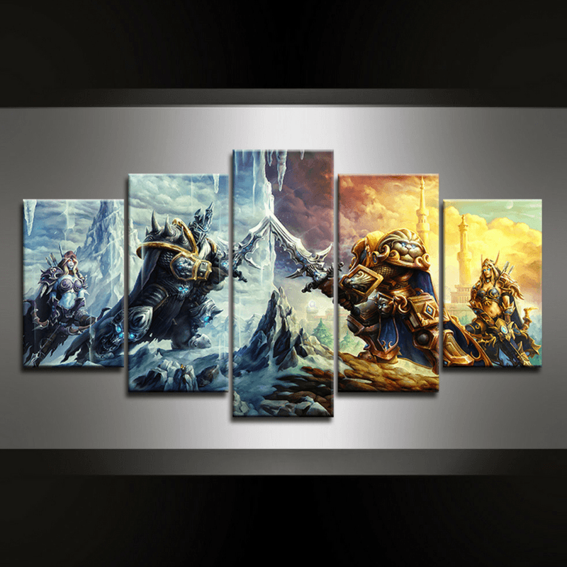 5 Piece Battle of Arthas Canvas Wall Art