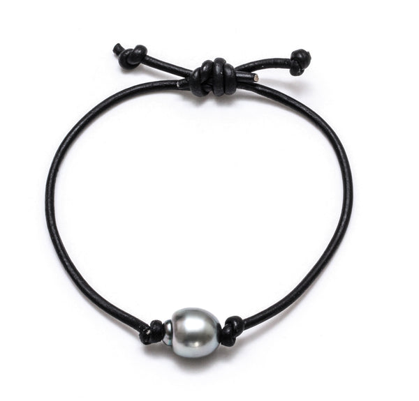 10MM Tahitian Pearl on Adjustable Leather Cord