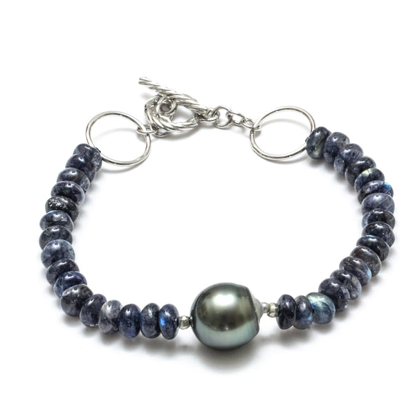 Tahitian Pearl and Blue Labradorite Toggle Bracelet