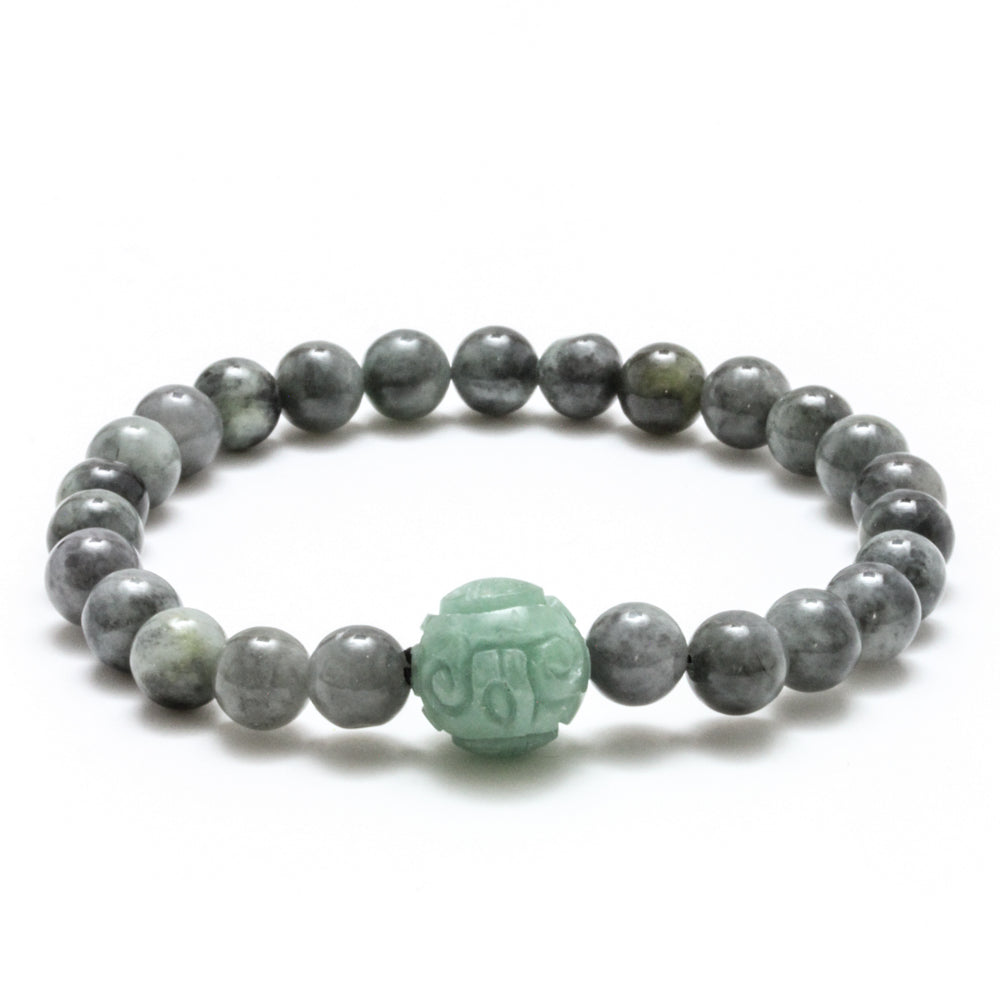 Natural Charcoal & Green Burmese Jadeite Stretch Bracelet