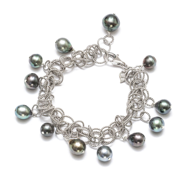 "9-11MM Tahitian Pearl Charm Adjustable Sterling Silver 7.25"" Bracelet"