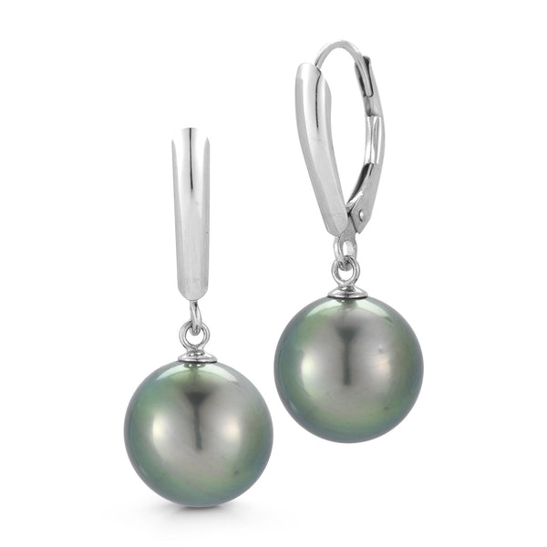 The Classic Tahitian Pearl 14K White Gold Lever Back Earrings
