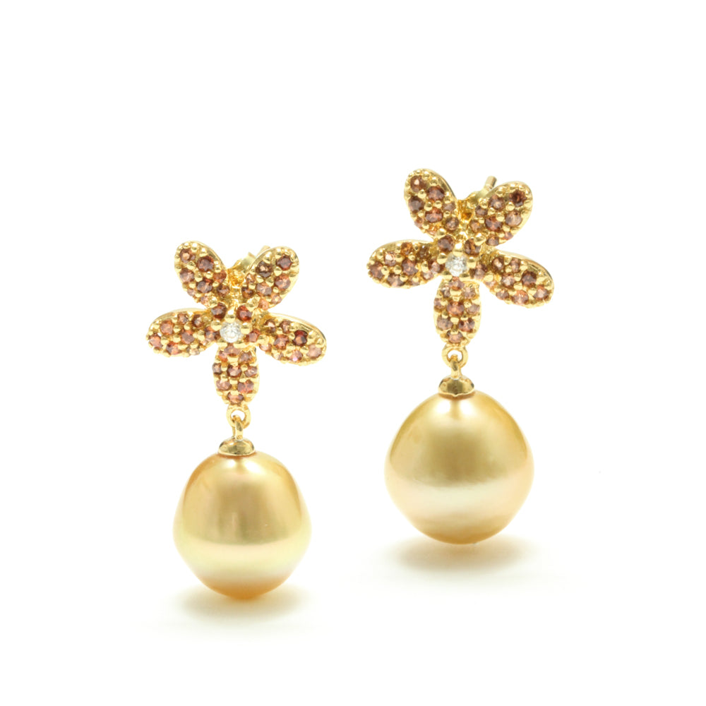 11MM Golden South Sea Pearl and Brown Zircon Flower Earrings