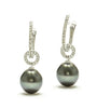 9MM Tahitian Pearl & Choice Of Black Spinel or White Zircon Drop Earrings