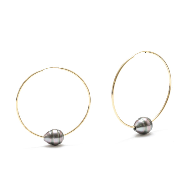 11MM Tahitian Pearl Floating Pearl Earring