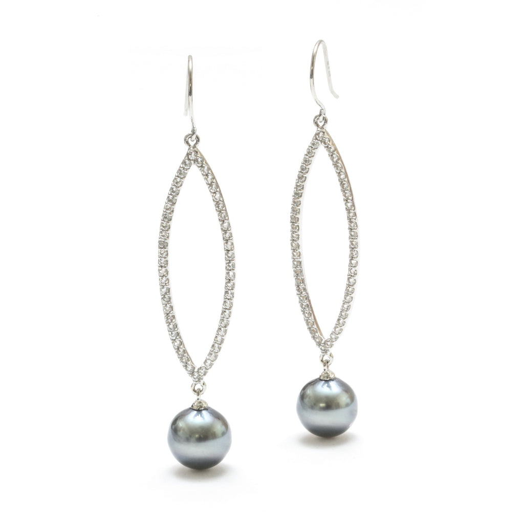 10MM Tahitian Pearl & White Topaz Dangle Earring